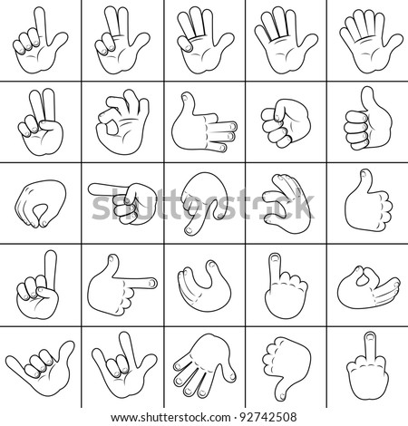 Sketching Human Hand. Large Collection of Vector Hands Icons, Signs. - stock vector