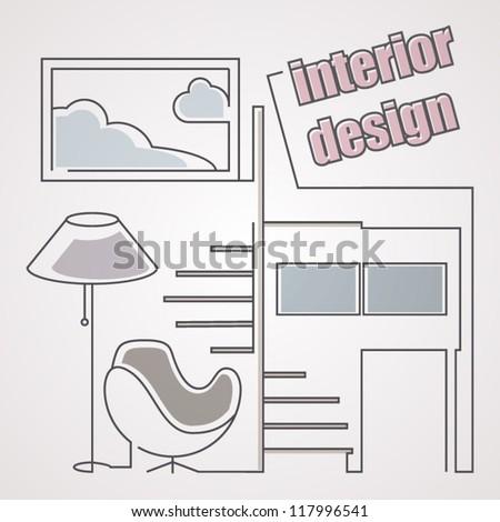 Sketching. Interior design. - stock vector