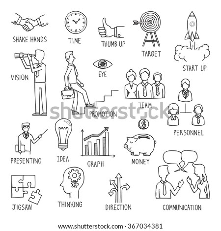 Sketching of hand writing in business concept, doodle, drawing, vector illustration.  - stock vector