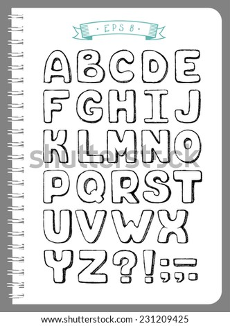 Sketchy Alphabet and Punctuation in Vector - stock vector