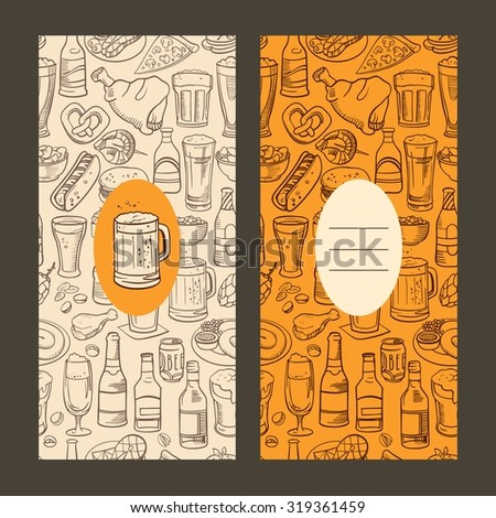 sketchy beer and snacks, vector hand-drawn background - stock vector