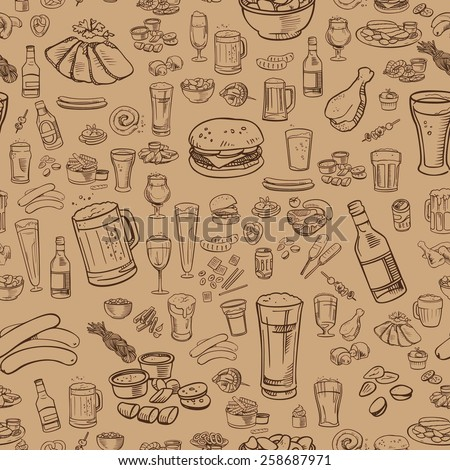 sketchy beer and snacks, vector seamless background - stock vector