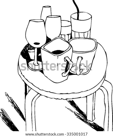 round table clipart black and white. sketchy black and white illustration of drinks. vector beverages set. still life with a round table clipart 9