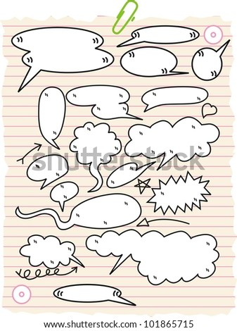 sketchy bubble speech with on paper - stock vector