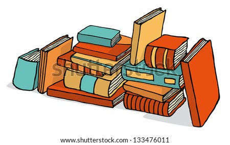 Sketchy bunch of piled books - stock vector