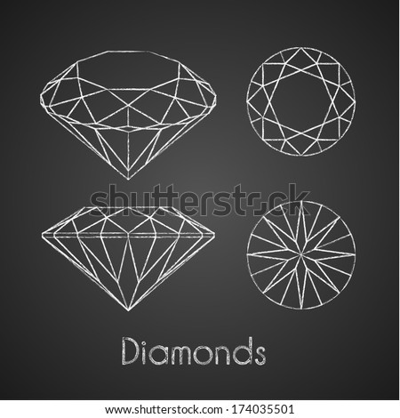 Sketchy chalk-drawn diamond icons - eps10 - stock vector