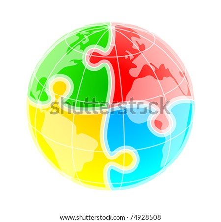 Sketchy colorful globe under puzzle pattern - stock vector