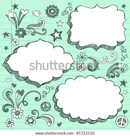 Sketchy 3-D Shaped Ornate Comic Book Style Speech Bubble Frames- Hand Drawn Notebook Doodles Design Elements on Lined Paper Background- Vector Illustration - stock vector