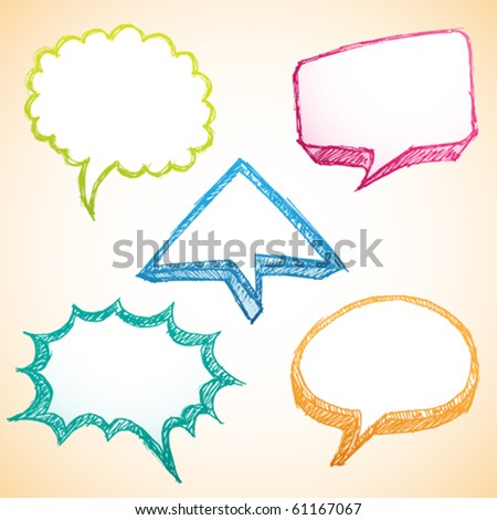 sketchy / doodle colorful speech bubble - stock vector