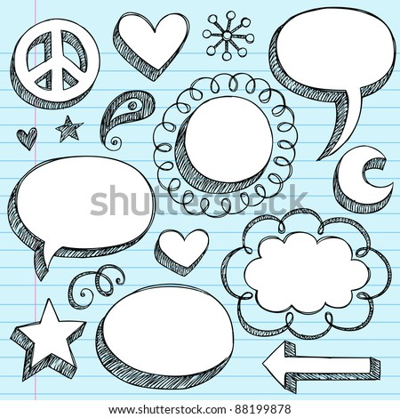 Sketchy Doodle 3-D Shaped Comic Book Style Speech Bubbles and Peace Sign- Hand Drawn Notebook Doodles on Blue Lined Paper Background- Vector Illustration - stock vector