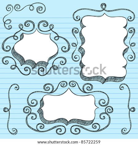 Sketchy Doodle 3-D Shaped Ornate Comic Book Style Speech Bubble Frames with Swirls Edge Design- Back to School Notebook Doodles on Blue Lined Paper Background- Vector Illustration - stock vector