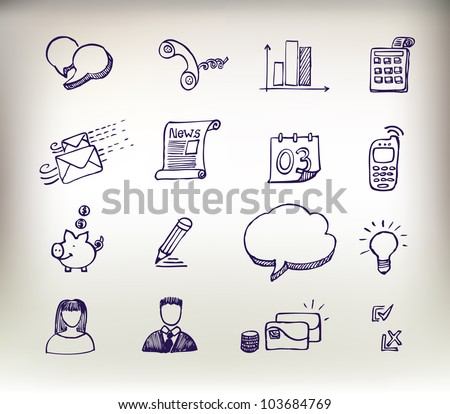 Sketchy doodle icon set - stock vector