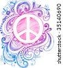 Sketchy Doodle Peace Sign Vector Illustration - stock vector