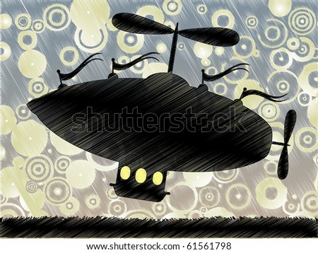 Sketchy fantasy airship lifts offs accented by colorful blue yellow circle background - stock vector