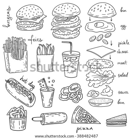 Sketchy fast food illustrations vector american stock for Art and appetite american painting culture and cuisine