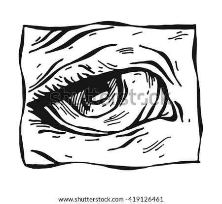 Sketchy female sad eye.Sketchy, hand drawn female eyes on white background.Eye icon.Eye drawing.Eye sketch.Isolated on white.Fashion illustration.