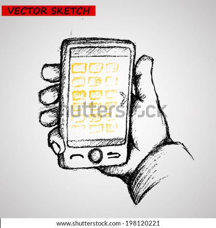 Sketchy hand drawn vector illustrations of using smart phone - stock vector