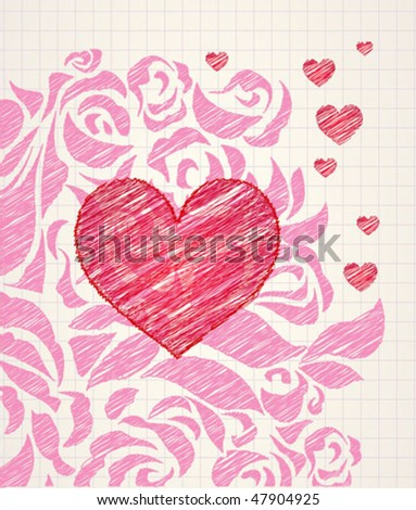 Sketchy heart and roses doodle - ballpoint colorful pen drawing on a squared paper in a notebook or diary. High quality detailed illustration. For teens or kids products. - stock vector