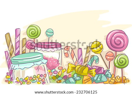 Sketchy Illustration Featuring Assorted Candies - stock vector