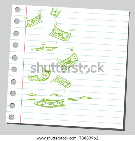 Sketchy illustration of a money falling