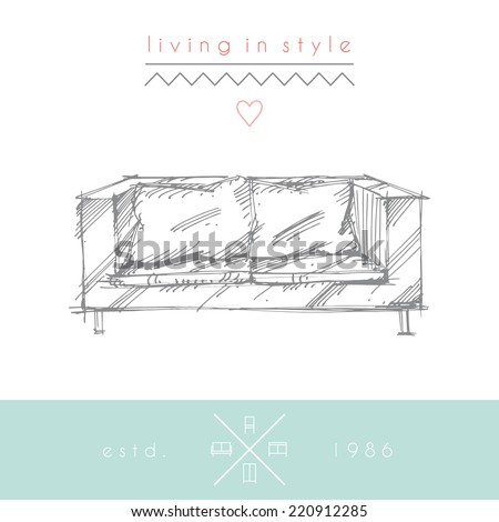 Sketchy illustration of sofa. EPS 10. No transparency. No gradients. - stock vector