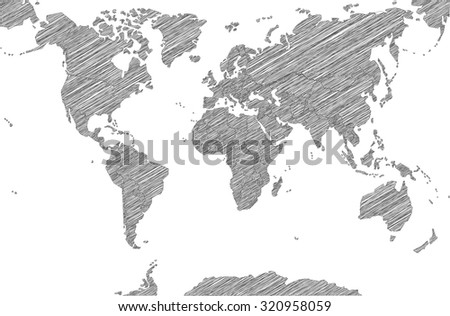 Sketchy Map of the World - stock vector