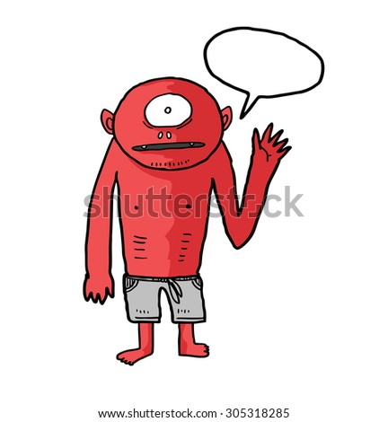 sketchy monster isolated on white background - stock vector