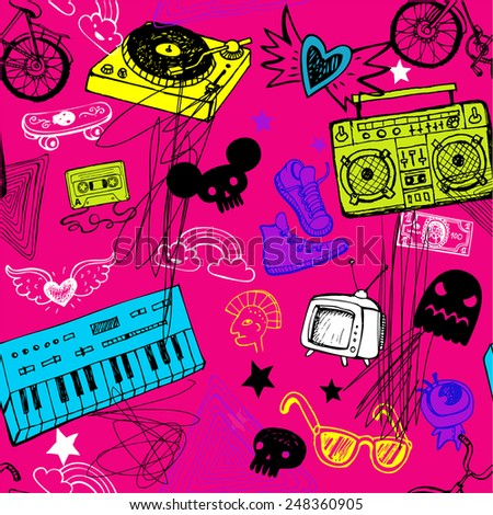 Sketchy music doodles in seamless background - stock vector