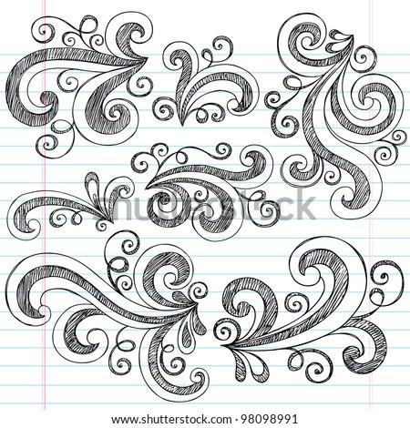 Sketchy Notebook Doodle Swirls - Hand-Drawn Design Elements Vector Illustration on Lined Sketchbook Paper Background - stock vector
