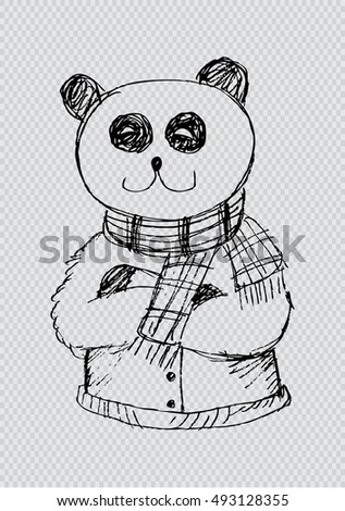 Sketchy of cute panda. Fashion animals.