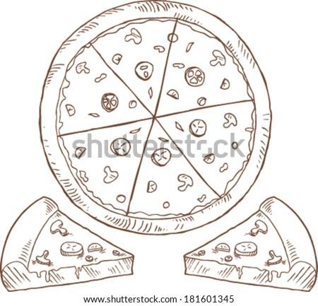 sketchy pizza slice  - stock vector