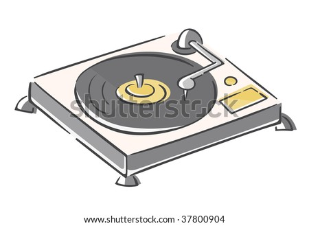 Sketchy Record Player - stock vector