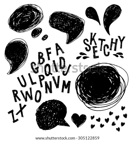 Sketchy set of bubbles and letters hand drawn with ink - stock vector