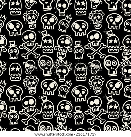 Sketchy Skull Seamless Repeat Wallpaper in Black - stock vector