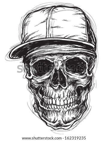 Sketchy Skull with Bandanna and cap - stock vector