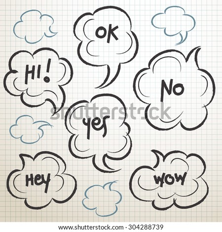 Sketchy Speech Bubbles Set : Vector Illustration