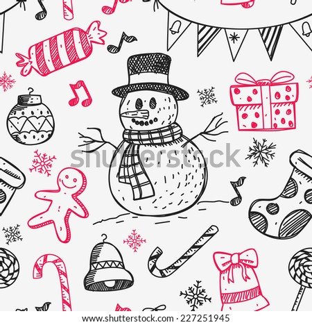 sketchy style Christmas background - stock vector