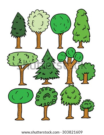 sketchy trees - stock vector