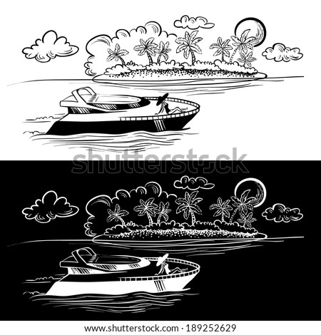 Sketchy tropical seascape with yacht and island - stock vector