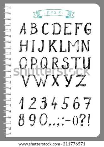 Sketchy type with alphabet, numbers and punctuation in vector  - stock vector