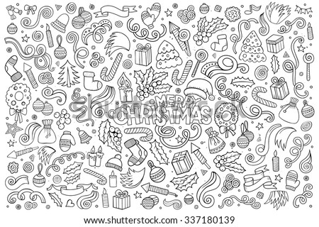 Sketchy vector hand drawn Doodle cartoon set of objects and symbols on the Merry Christmas theme - stock vector