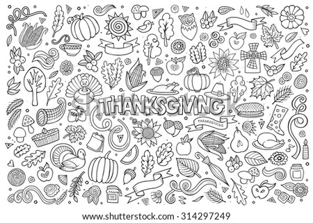 Sketchy vector hand drawn Doodle cartoon set of objects and symbols on the Thanksgiving autumn theme