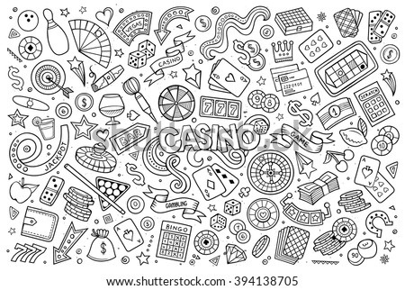 Sketchy vector hand drawn doodles cartoon set of Casino objects and symbols - stock vector