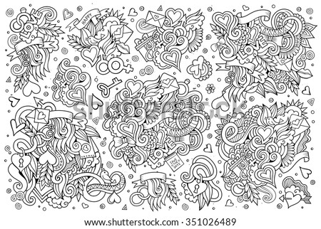 Sketchy vector hand drawn doodles cartoon set of Love and Valentine's Day objects and symbols - stock vector
