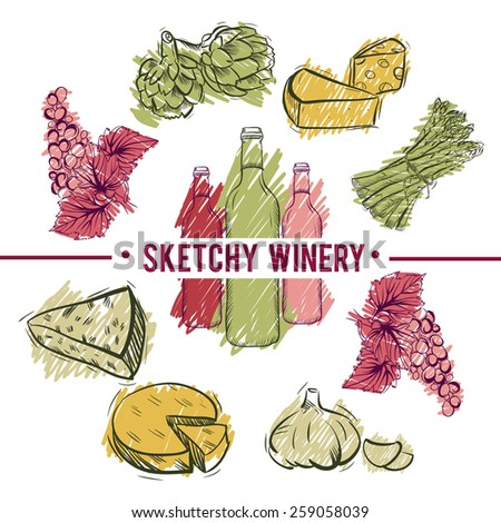 Sketchy winery. Wine and food vector set. hand drawn illustration - stock vector