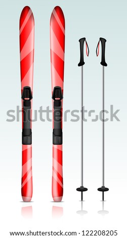 Ski and ski sticks eps10 - stock vector