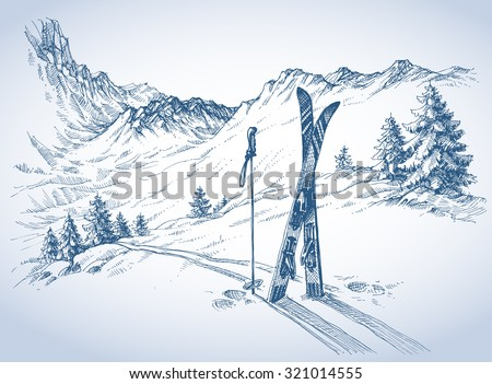 Ski background, mountains in winter season - stock vector