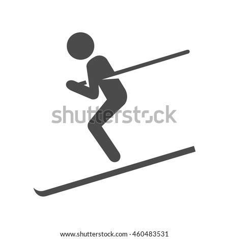 Ski icon in black and white grey single color. Sport winter playing mountain - stock vector