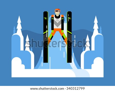 Ski jumping flat design. Extreme speed, competition outdoor,  vector illustration - stock vector