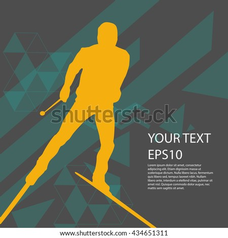 Ski man silhouette colorful background modern design
